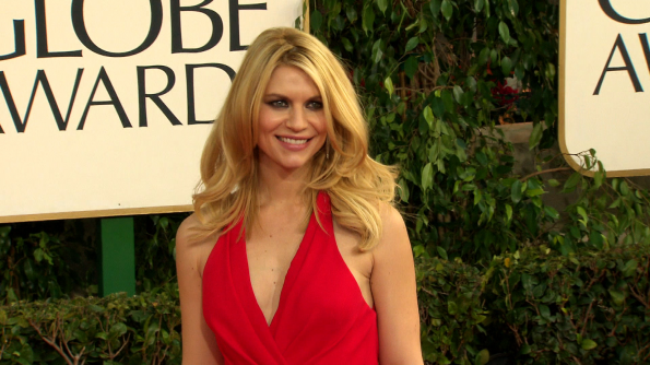 New mom Claire Danes in a stunning red Versace