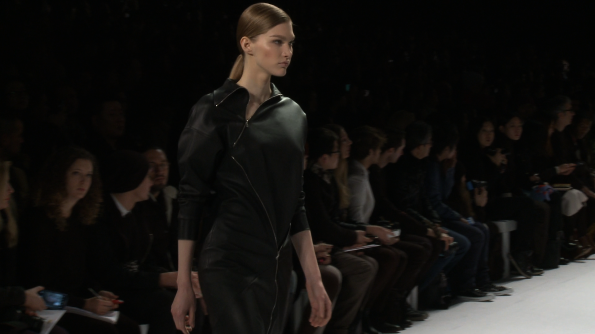 Zip into a full leather Lacoste dress