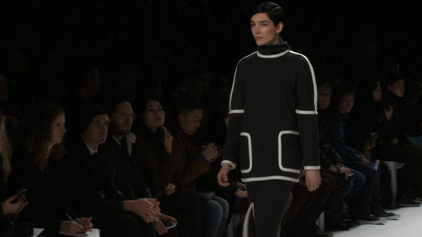 Black works the bulky over skinny look at Lacoste