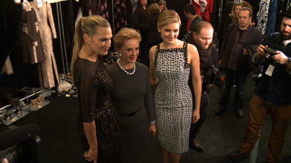 Molly Sims & Maggie Grace with Carolina Herrera, backstage