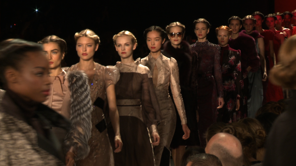 Lady parade on the Carolina Herrera runway