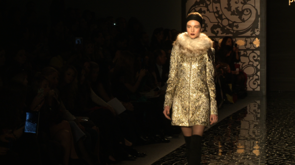 Black, gold & fur at Pamella Roland